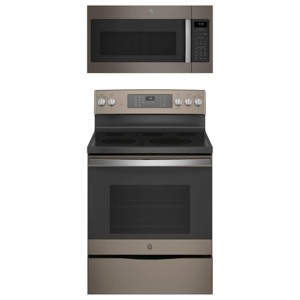 """GE Appliances 2-Piece Kitchen Package with 30"""""""" Electric Range and 1.9 Cu. Ft. Microwave Oven in Slate, , large"""