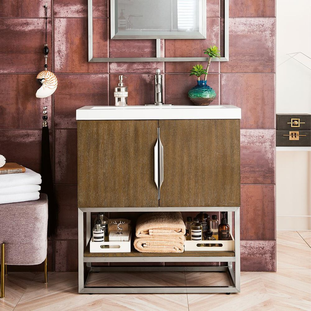 """James Martin Columbia 31.5"""" Single Vanity Cabinet in Latte Oak, Brushed Nickel, with White Glossy Solid Surface Top, , large"""