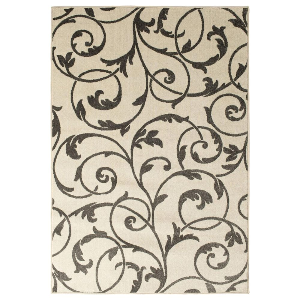 """Central Oriental Terrace Tropic Macala 2327NE.084 3'3"""" x 5' Snow and Stone Area Rug, , large"""