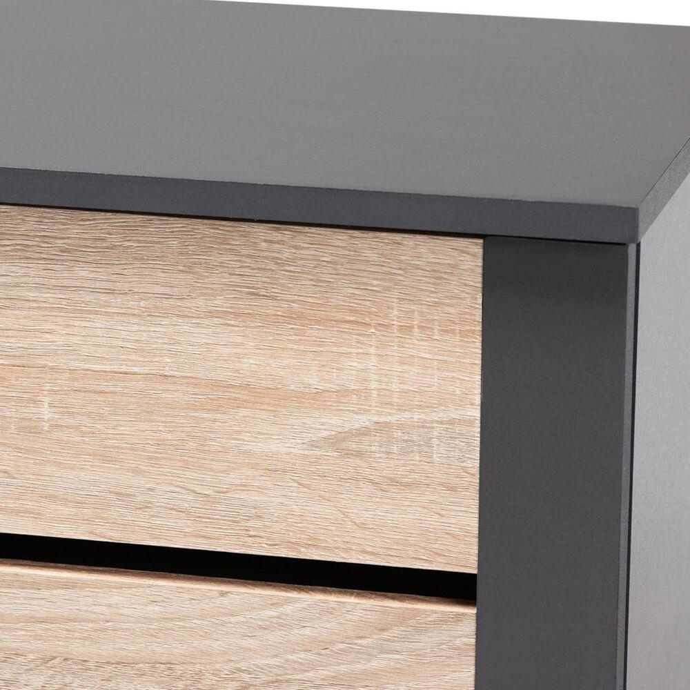 Baxton Studio Melle 2-Door Entryway Shoe Storage Cabinet in Oak/Gray, , large