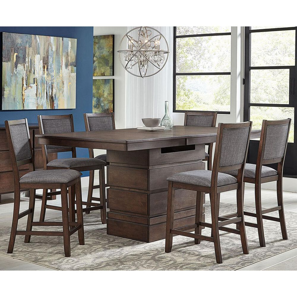 A-America Chesney 7-Piece Counter Height Dining Set in Falcon Brown, , large