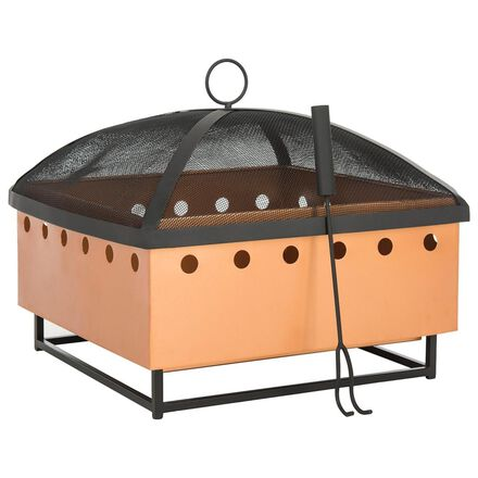 Safavieh Wyatt Square Fire Pit in Copper and Black