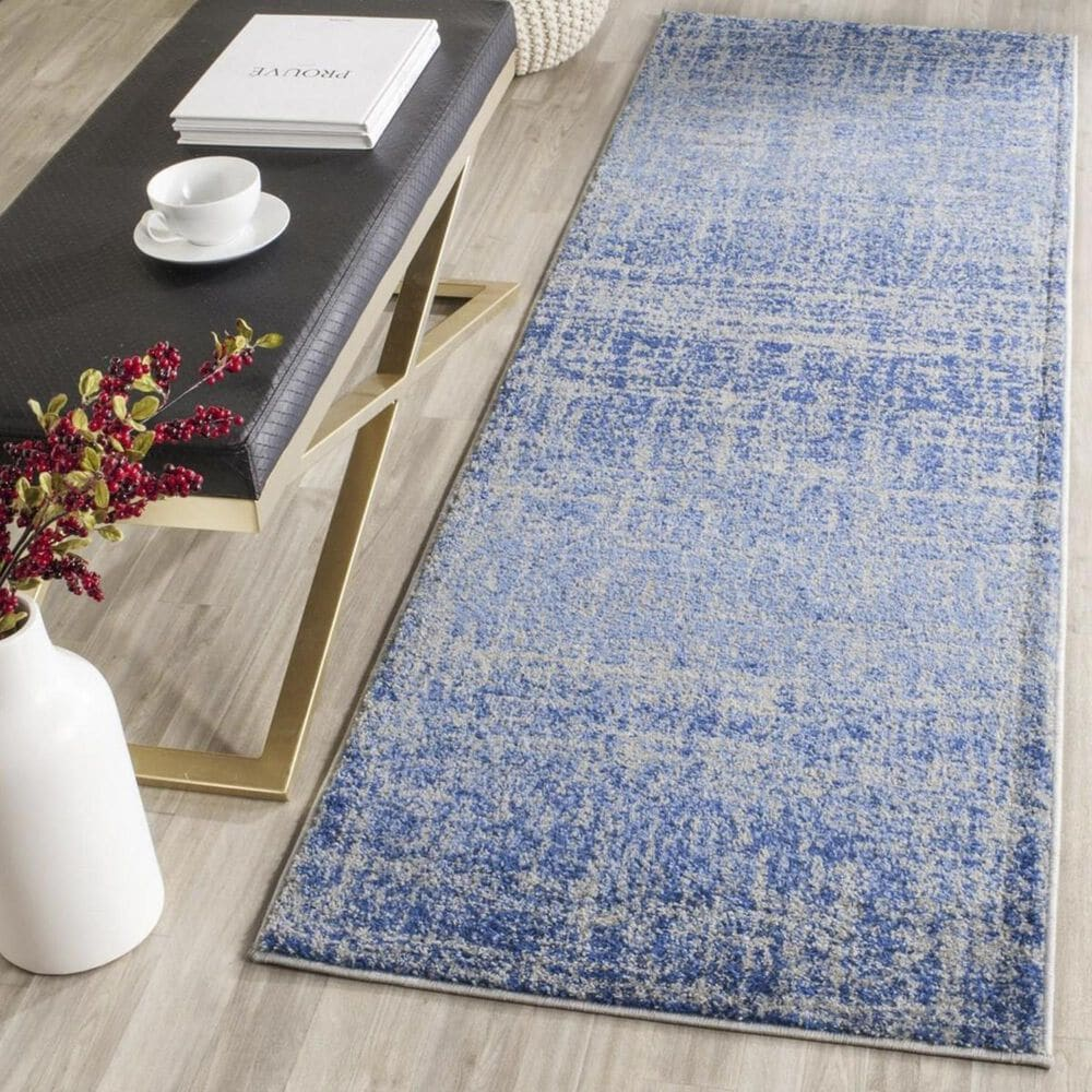 """Safavieh Adirondack ADR116D 2'6"""" x 20' Blue and Silver Runner, , large"""