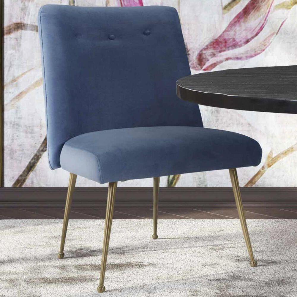 Tov Furniture Batik Velvet Dining Chair in Ocean Blue, , large