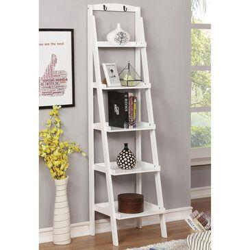 Furniture of America Genesis 5-Tier Ladder Bookshelf in White, , large