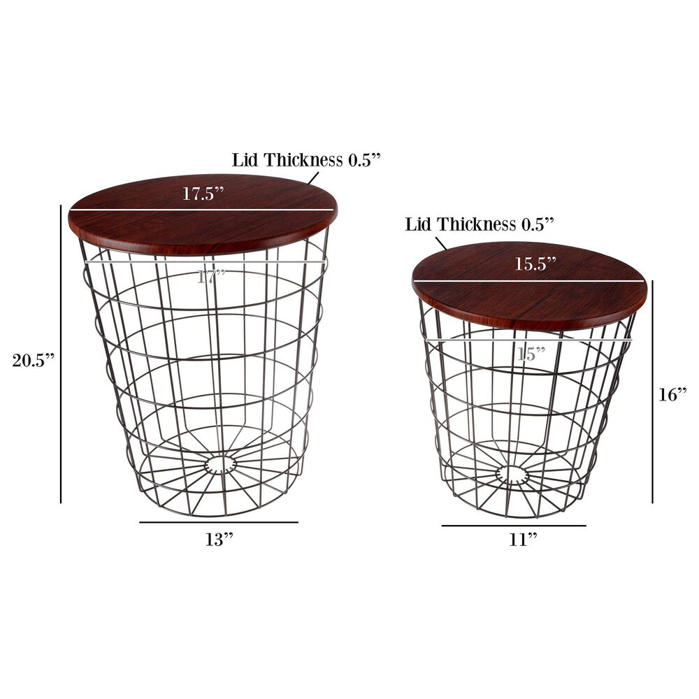Timberlake Lavish Home 2-Piece Round Nesting Tables in Cherry, , large
