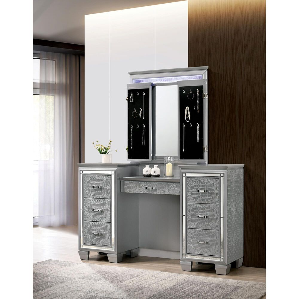 Furniture of America Griffith 3 Piece Vanity Set in Silver, , large