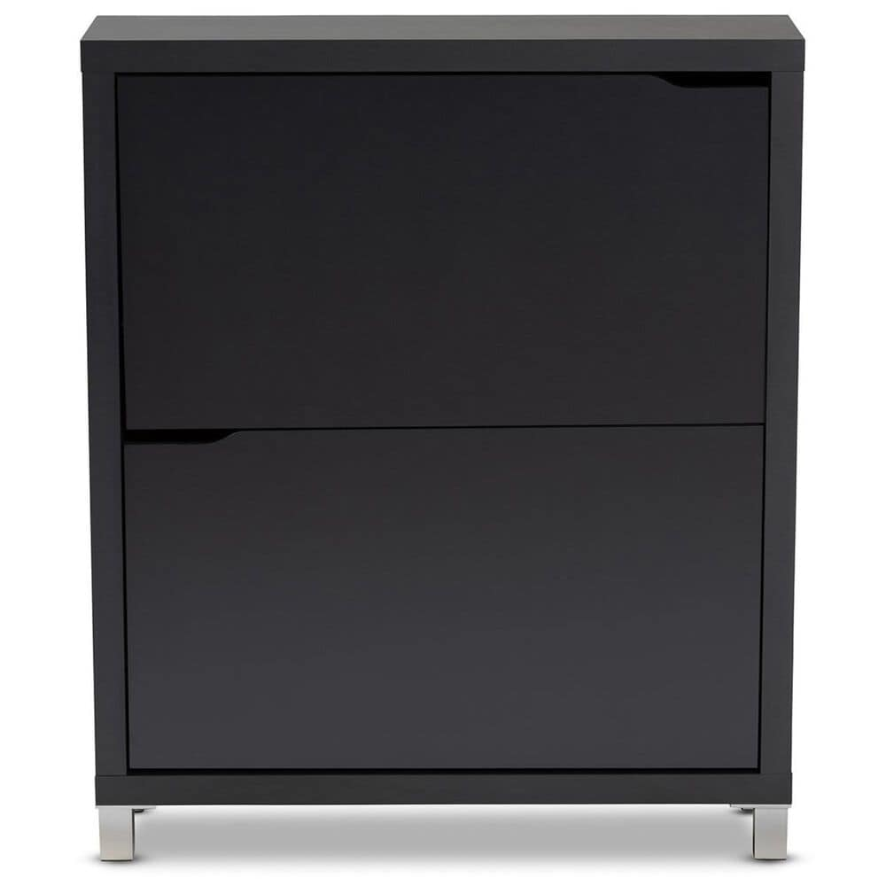 Baxton Studio Simms Shoe Storage Cabinet with 2 Fold-Out Racks in Gray, , large