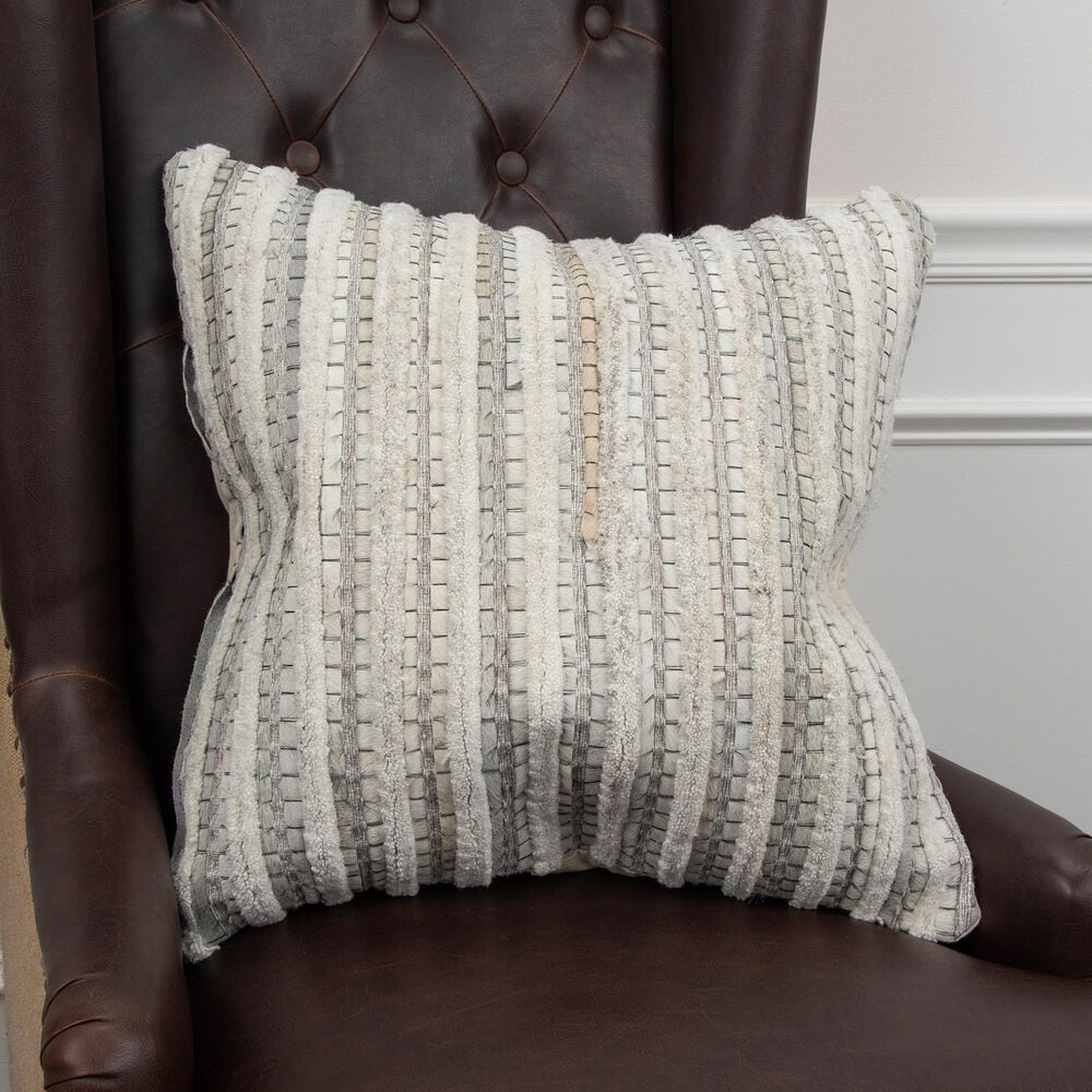 """Rizzy Home Donny Osmond Stripe 20"""" Pillow Cover in Natural and Beige, , large"""