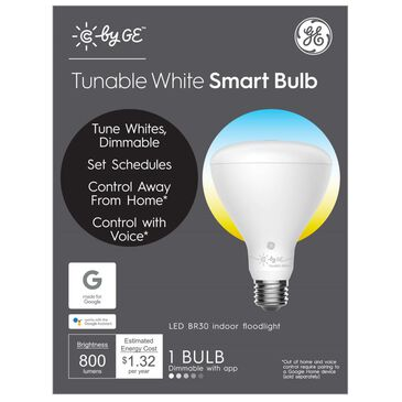 C by GE Tunable White Smart Bulb (1 LED BR30 Indoor Floodlight Bulb), 65W Replacement, Bluetooth Enabled, Works with Google Assistant Without A Hub, Works with Alexa and HomeKit With Hub, , large