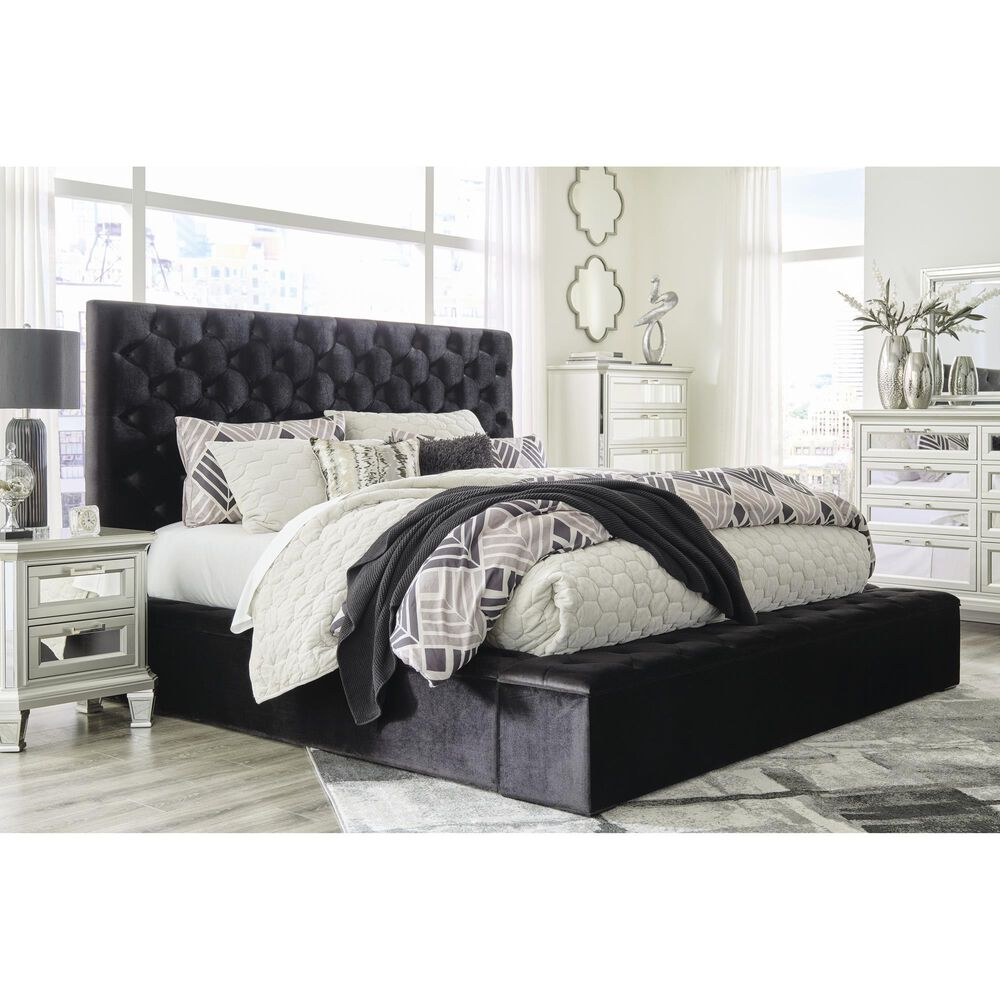 Signature Design by Ashley Lindenfield Queen Upholstered Bed with Storage in Black, , large
