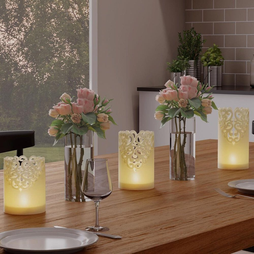 Timberlake Lavish Home 3 Flameless Pillar LED Candles in Vanilla, , large