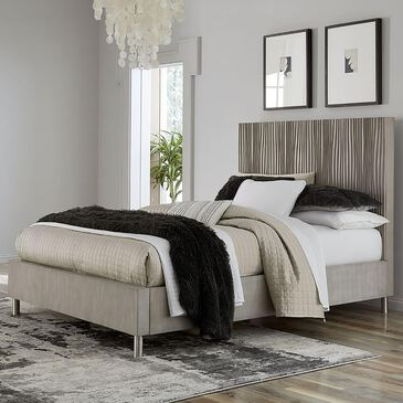 Urban Home Argento Queen Platform Bed in Misty Grey and Stainless Steel, , large