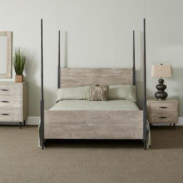 Style N Living Fossil Queen Poster Bed in Sandblast Gray, , large