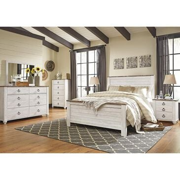 Signature Design by Ashley Willowton 4 Piece Queen Bedroom Set in Whitewash, , large