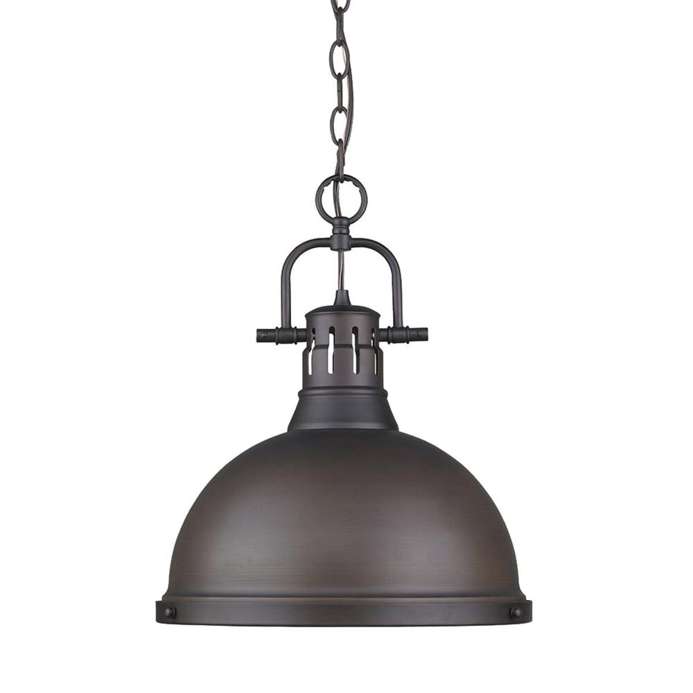 Golden Lighting Duncan 1-Light Pendant with Chain in Rubbed Bronze with a Rubbed Bronze Shade, , large