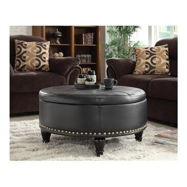 OSP Home Augusta Storage Ottoman in Black Bonded Leather, , large