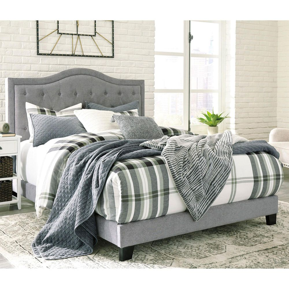Signature Design by Ashley Jerary King Upholstered Panel Bed in Gray, , large