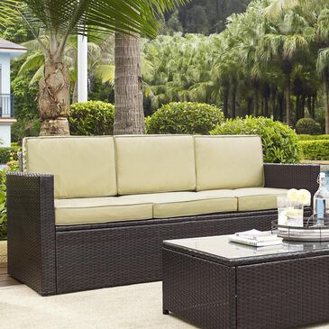 Crosley Furniture Palm Harbor Outdoor Wicker Sofa in Sand, , large