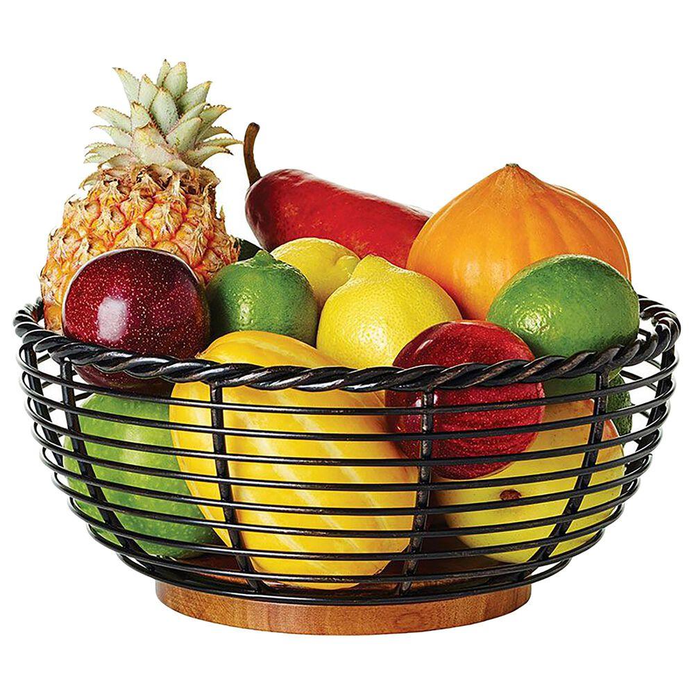 "Lifetime Brands Mikasa 11"" Rope Round Fruit Storage Basket in Black, , large"