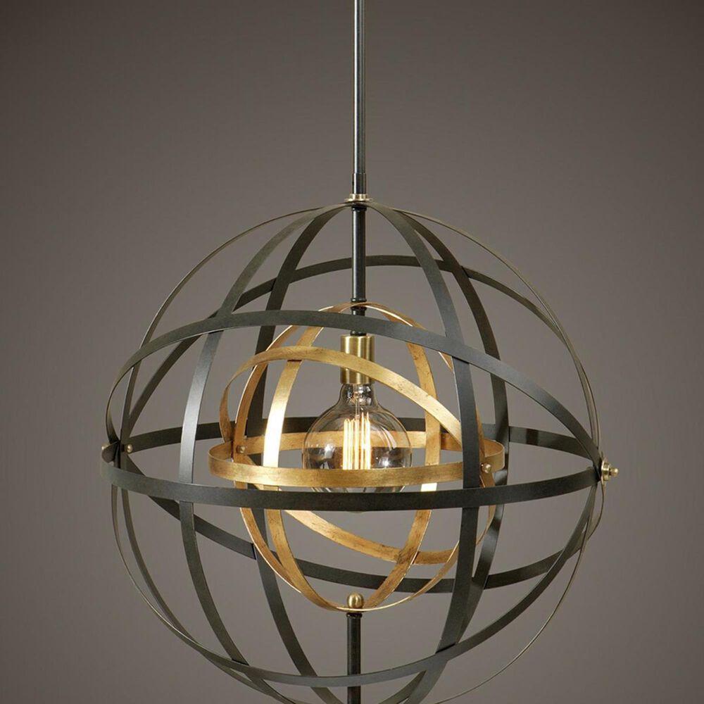 Uttermost Rondure 1 Light Sphere Pendant in Bronze/Brass, , large