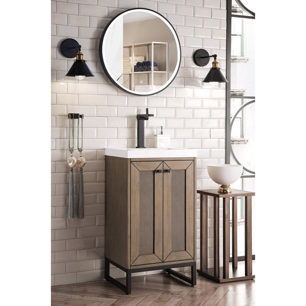 """James Martin Chianti 20"""" Single Bathroom Vanity in Whitewashed Walnut and Matte Black with White Glossy Solid Surface Resin Top, , large"""