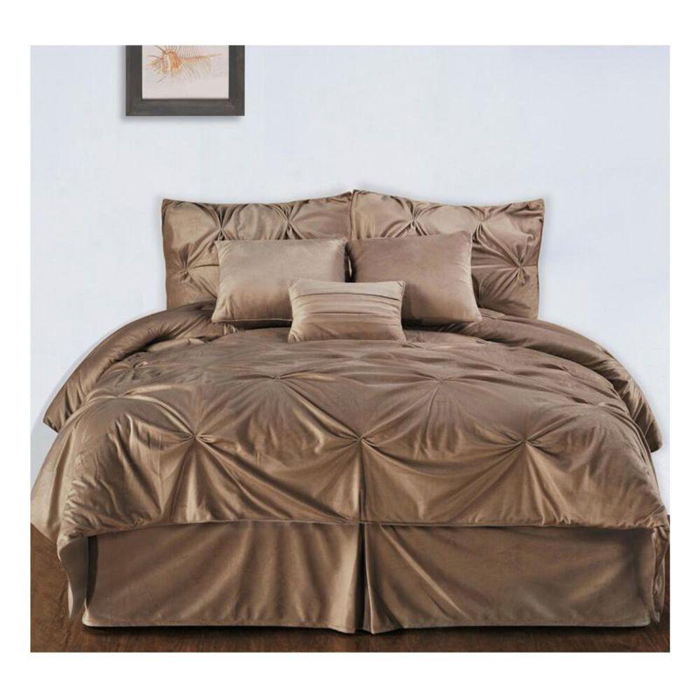 Epoch Hometex Hudson Street Twin Pintuck Plush Comforter Set in Brown, , large