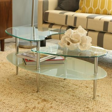 Walker Edison Mariner Oval Coffee Table in Clear, , large