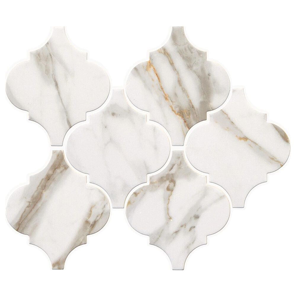 """Marazzi Marble Obsession  5"""" x 6"""" Arabesque Porcelain Tile in Calacatta Gold, , large"""