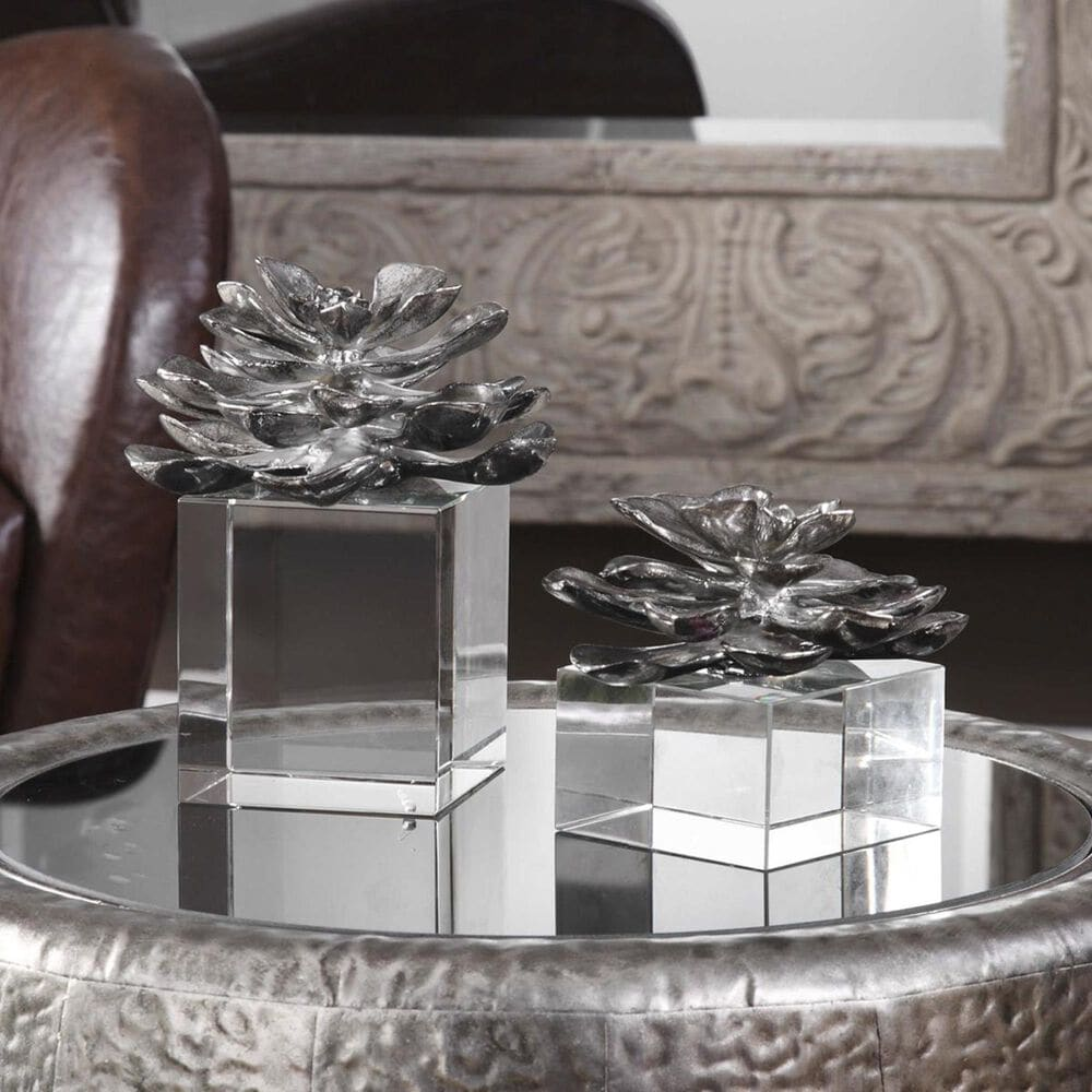 Uttermost Indian Lotus Metallic Silver Flowers (Set of 2), , large