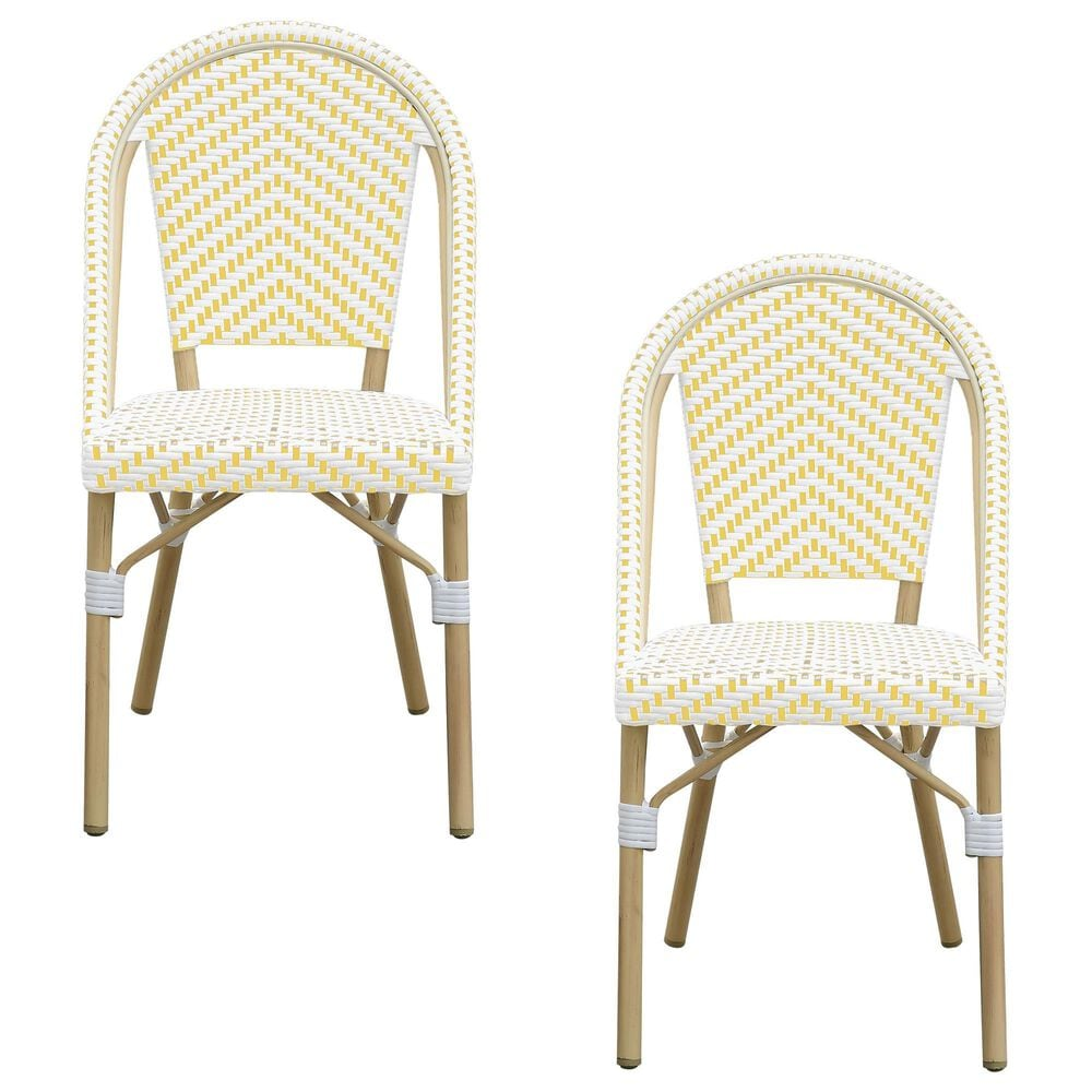 Furniture of America Toby Patio Side Chair in Yellow/White (Set of 2), , large
