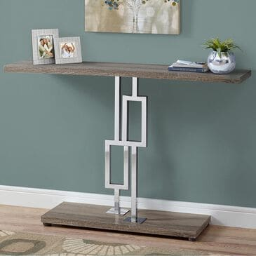 """Monarch Specialties 48"""" Accent Table in Dark Taupe and Chrome, , large"""
