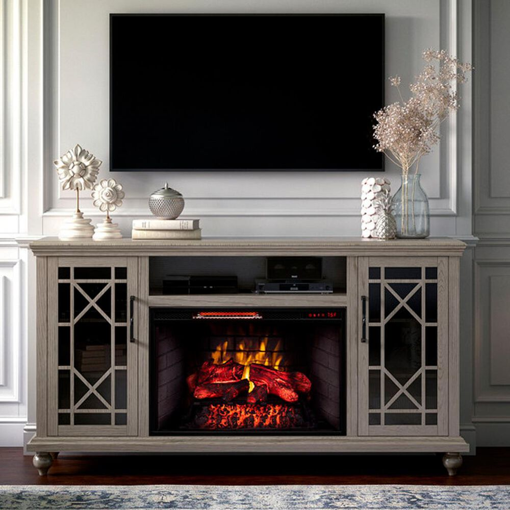 """Greentouch USA Greenpoint 63"""" Console with Fireplace in Cashmere, , large"""