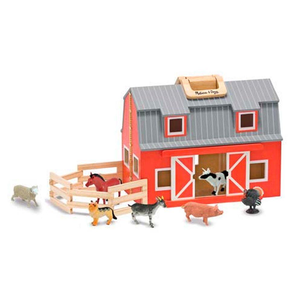 Melissa & Doug Wooden Fold & Go Barn, , large