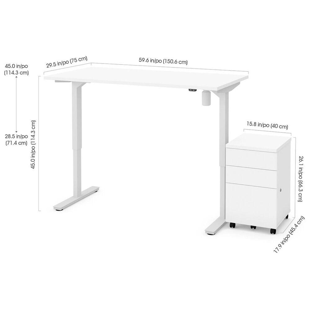 Bestar 2-Piece Adjustable Table Set in White, , large