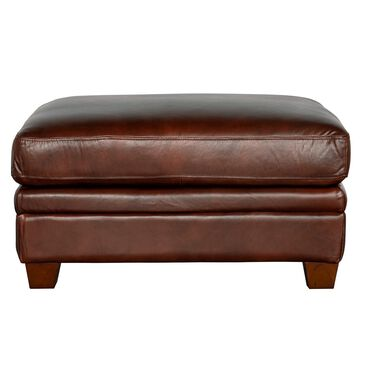 Back Nine Leather Como Ottoman in Cognac Brown, , large