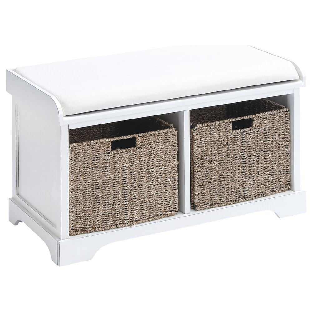 Maple and Jade Storage Bench in White with 2 Baskets, , large