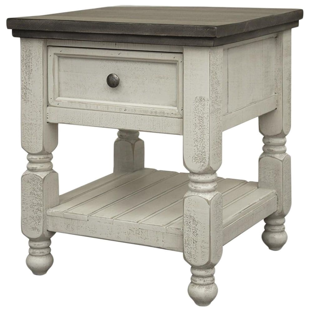 Fallridge Stone End Table in Off White and Gray, , large