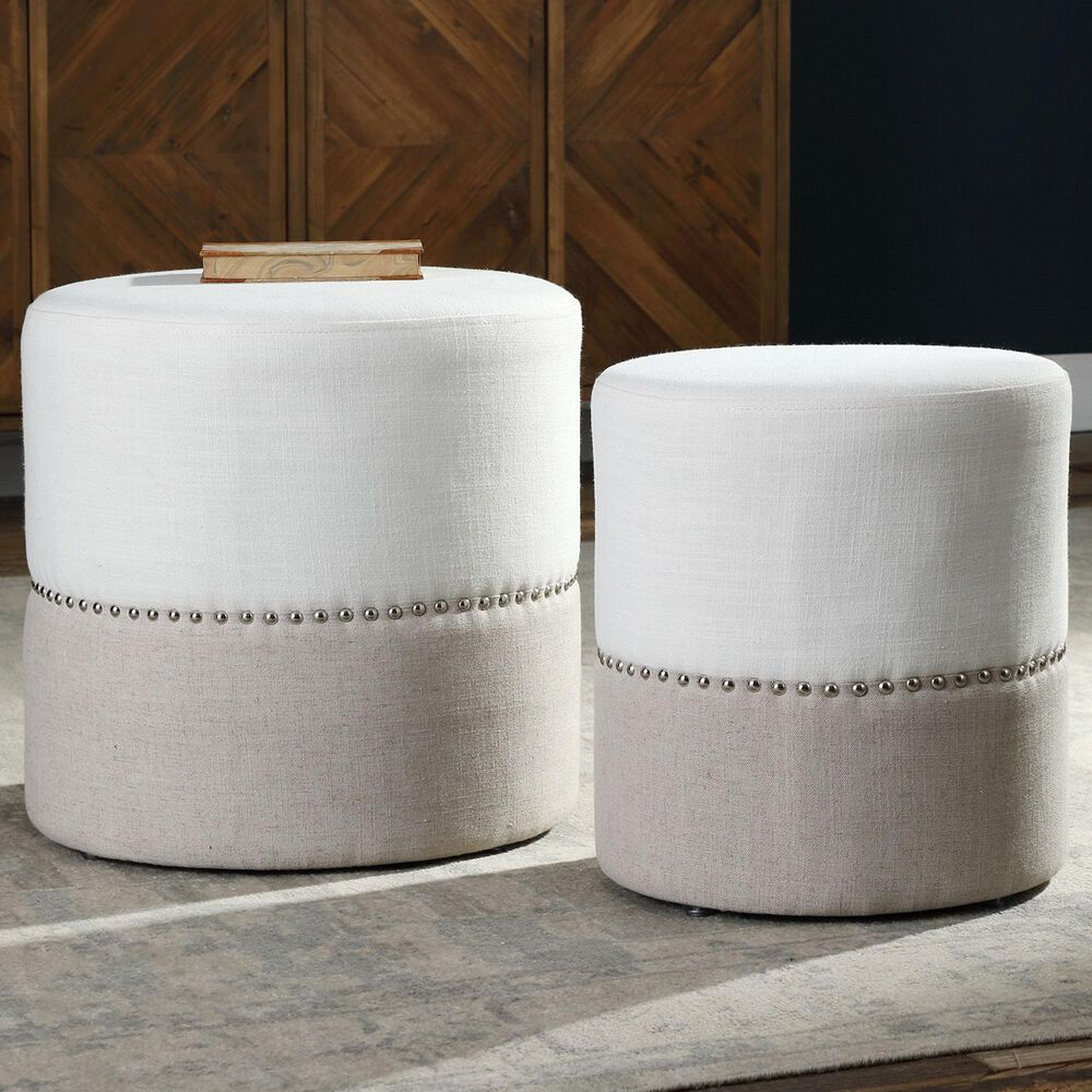 Uttermost Tilda Ottoman in Oatmeal and Creamy White (Set of 2), , large