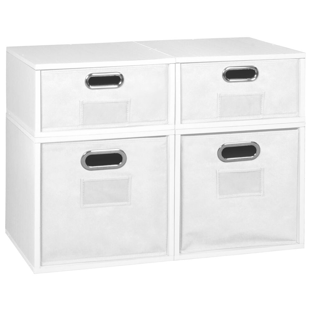 Regency Global Sourcing Niche Cubo 4-Piece Storage Set with Half Drawers in White Wood Grain/White, , large