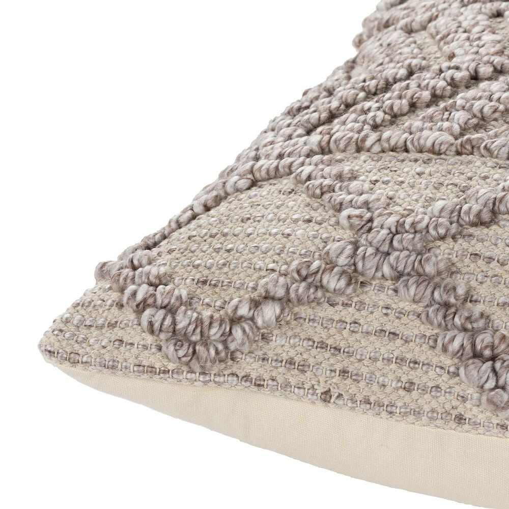 """Surya Inc Adam 20"""" x 20"""" Down Pillow with Hand Woven in Cream, Taupe and Light Beige, , large"""