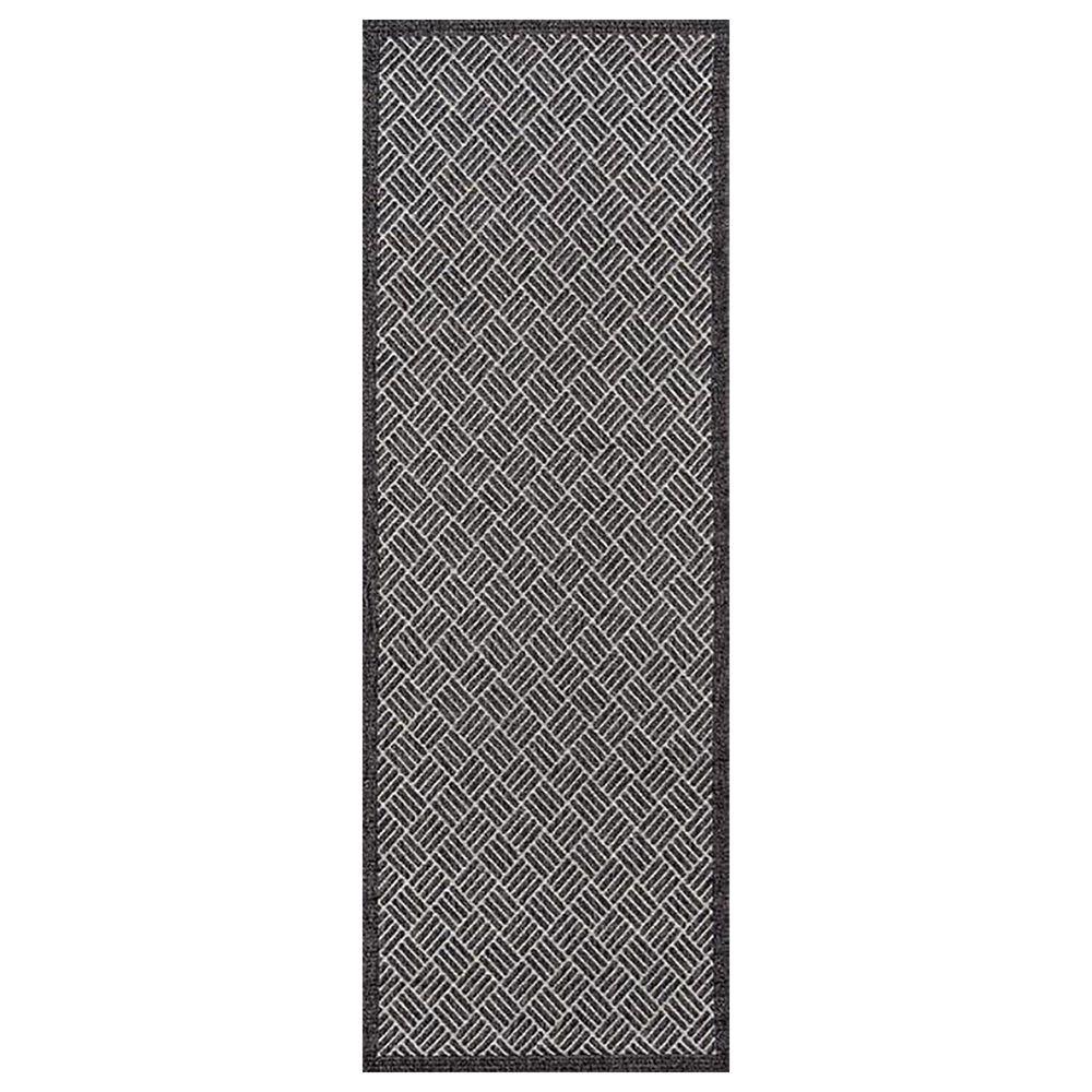 Momeni Como 2' x 6' Charcoal Indoor/Outdoor Runner, , large