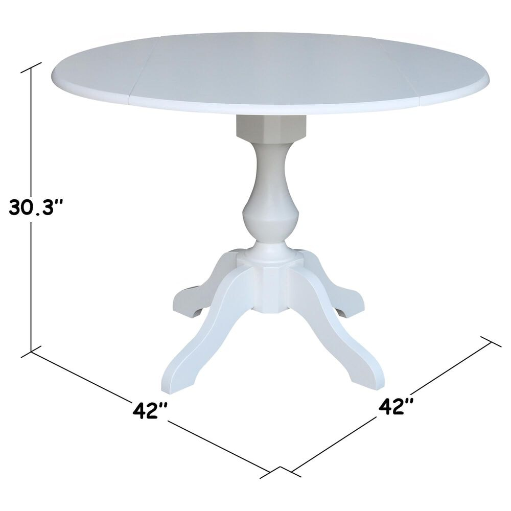 """International Concepts 42"""" Modern Farmhouse Round Drop Leaf Dining Table in White, , large"""