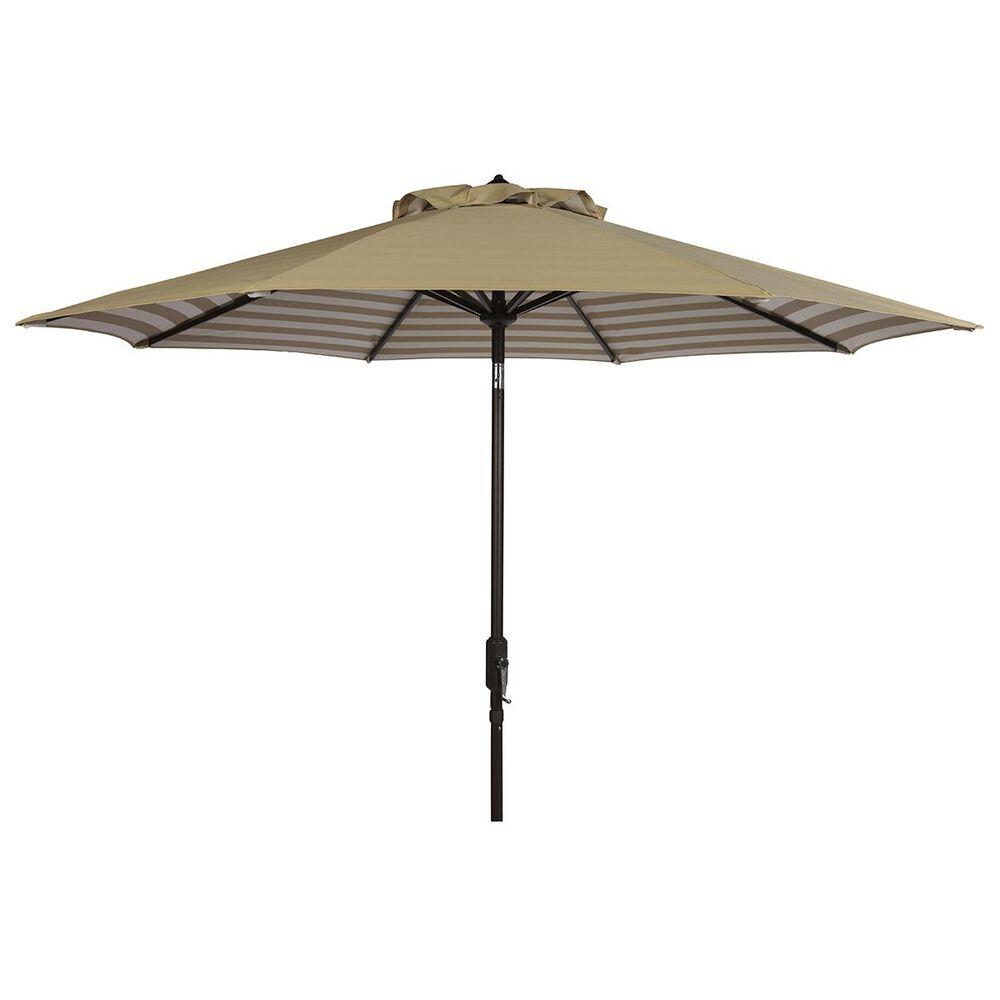 Safavieh Athens 9 ft. Auto Tilt Crank Umbrella in Beige and White, , large