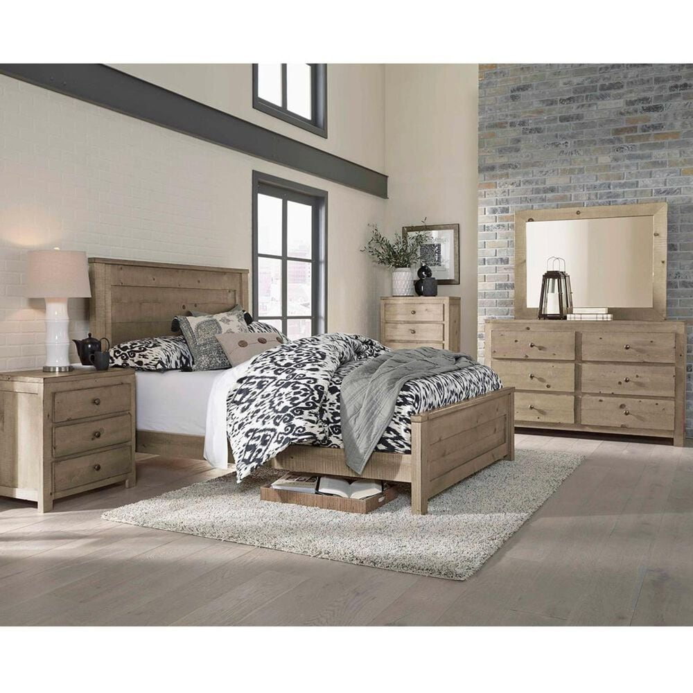 Tiddal Home Wheaton Full Panel Bed in Natural Distressed, , large
