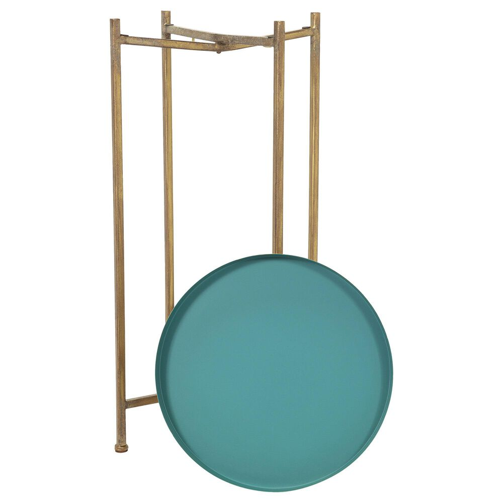 Surya Inc Allenbury Tray Top End Table in Aqua and Gold, , large