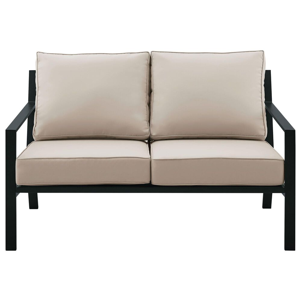 Accentric Approach Patio Loveaseat & Table in Black, , large