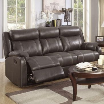 Klaussner Domino Reclining Sofa with Drop Down Table in Valor Chocolate, , large