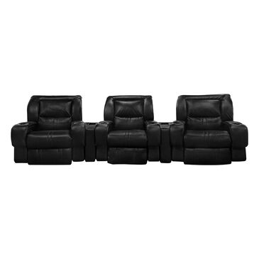 Southern Motion Roxie 5-Piece Power Reclining Home Theater Set in Black, , large