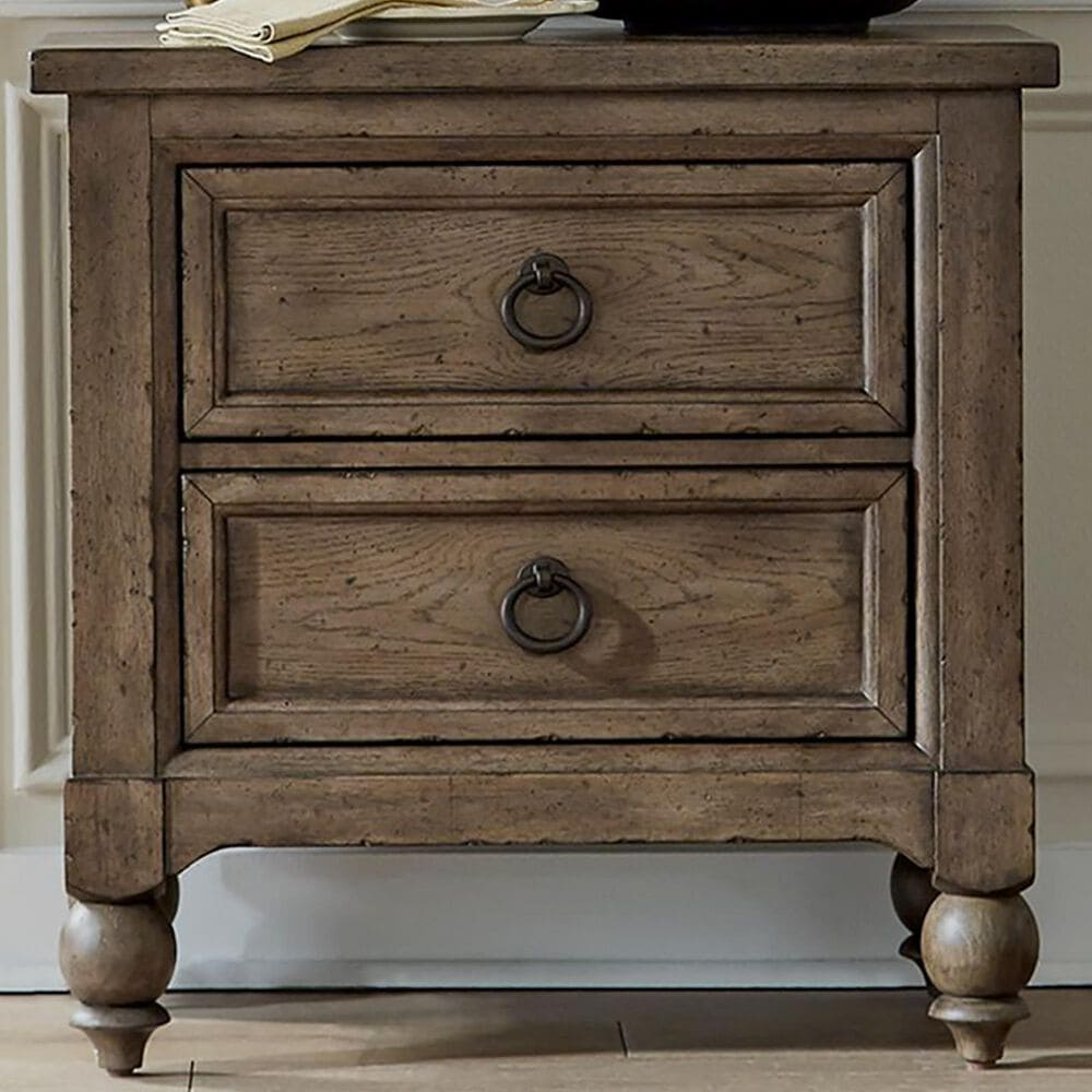 Belle Furnishings Americana Farmhouse 2 Drawer Nightstand in Dusty Taupe and Black, , large